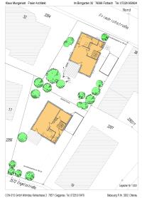 Überplant mit zwei freistehenden Einfamilienhäusern